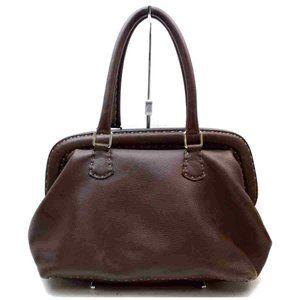 Auth Fendi Hand Bag Brown Leather #N0463E53